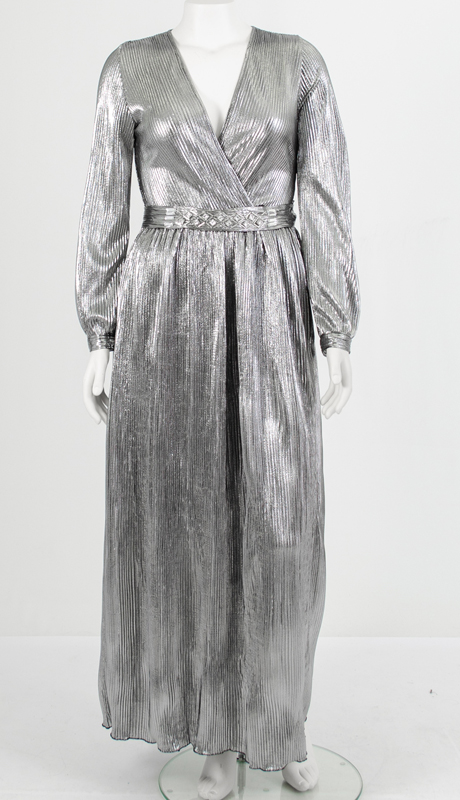 N By Nancy Collection C1827-SI ( 1pc Pleated Metallic Dress With Detachable Belt )