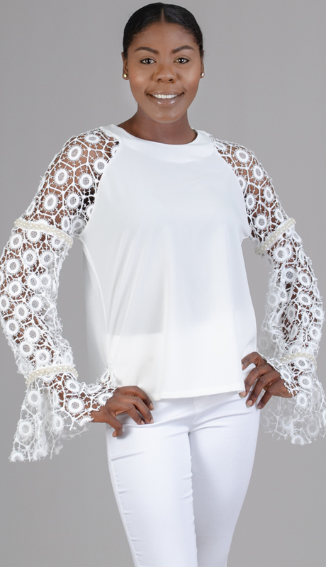 N by Nancy Collection C1007-WH ( 1pc Crochet Sleeve Top )