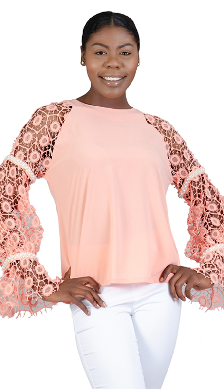 N by Nancy Collection C1007-PI ( 1pc Crochet Sleeve Top )