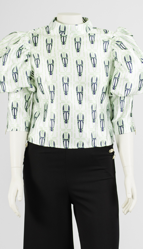 N by Nancy Collection A1916-WB ( 1pc Puff Sleeve Print Top )