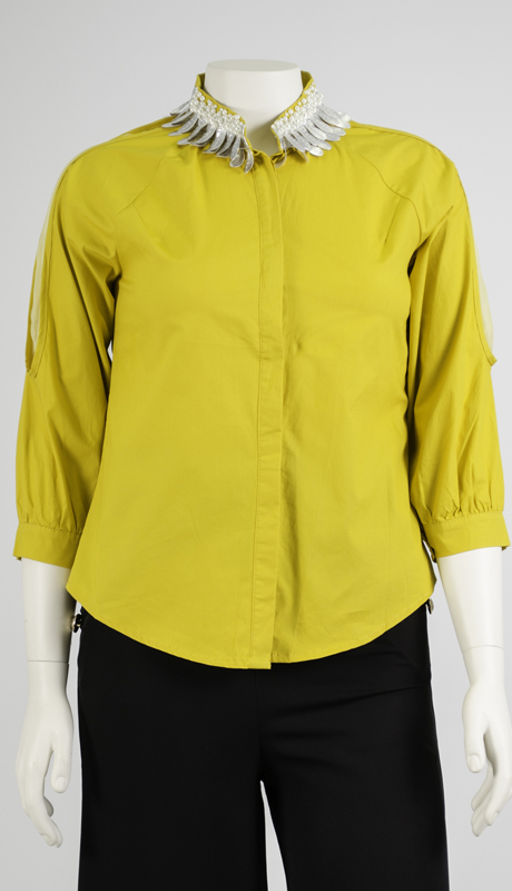 N By Nancy Collection 1880-YE ( 1pc Illusion Inset Embellished Collar Blouse )