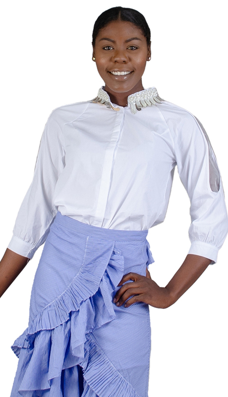 N By Nancy Collection 1880-WH ( 1pc Illusion Inset Embellished Collar Blouse )