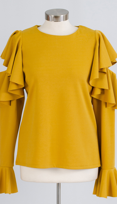 N by Nancy Collection A1870-GO ( 1pc Ruffled Sleeve Cold Shoulder Knit Top )