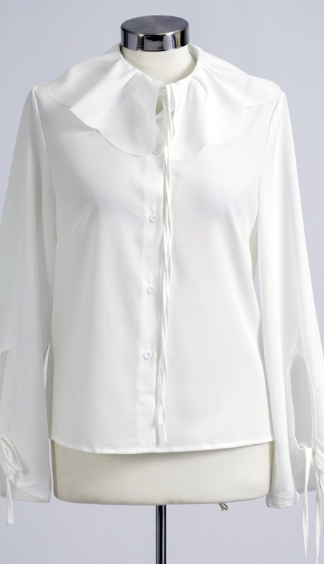 N by Nancy Collection A1866  ( 1pc Bib Neck Tie Sleeve Button Front Top )