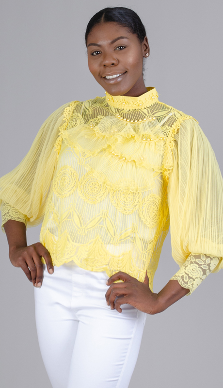 N By Nancy Collection 1981-Ye ( 1pc Sheer Bubble Sleeve Top )