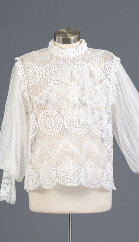 N By Nancy Collection 1981-WH ( 1pc Sheer Bubble Sleeve Top )
