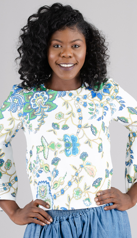 N by Nancy Collection 1816-WH ( 1pc Bell Sleeve Print Top )