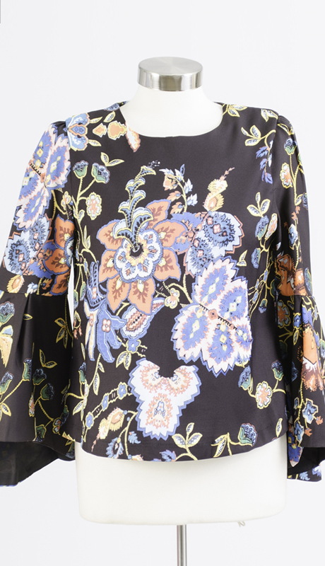 N by Nancy Collection 1816-BK ( 1pc Bell Sleeve Print Top )