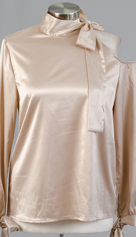N By Nancy Collection 132812-AP ( 1pc Satin Cold Shoulder Top )