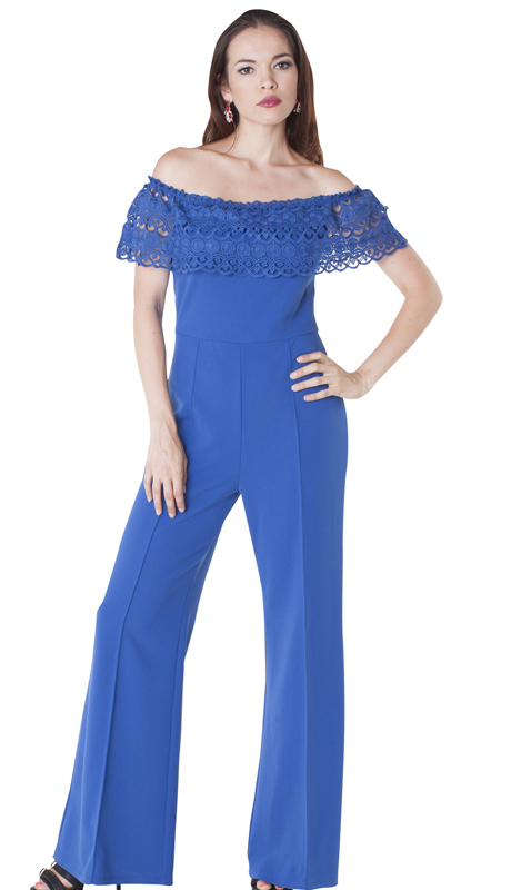 For Her Collection 8587-RO ( 1pc Lace Off The Shoulder Jumpsuit )