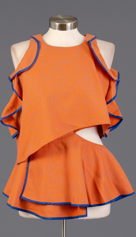 Why Collection T170324-OR ( 1pc Ruffle Two-Tone Top )