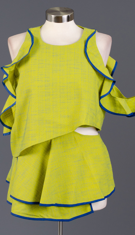Why Collection T170324-LI ( 1pc Ruffle Two-Tone Top )