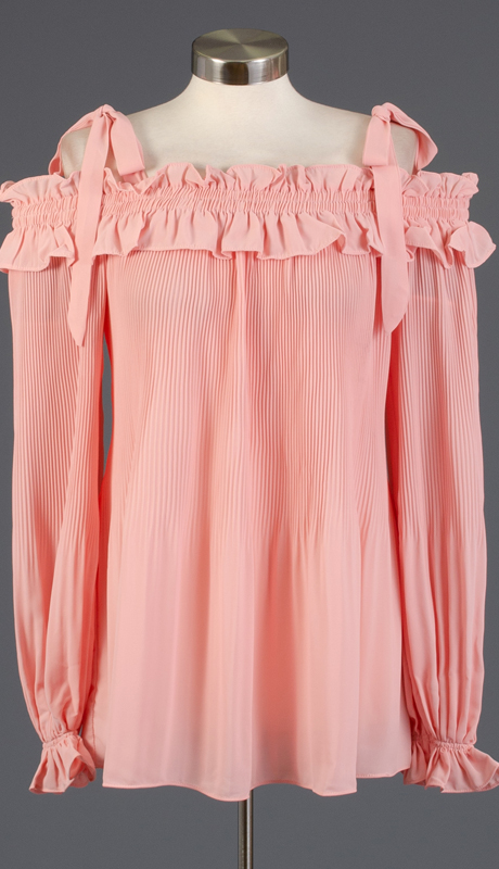 Why Collection T180639-BL ( 1pc Long Sleeve Pleated Top )