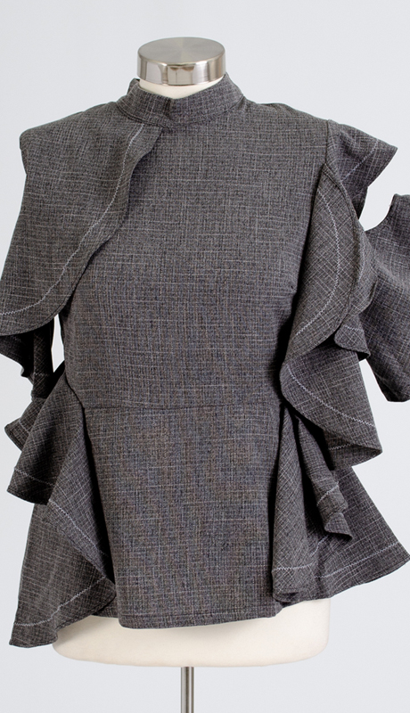 Why Collection T170153-BK ( 1pc Single Sleeve Ruffle Peplum Top )