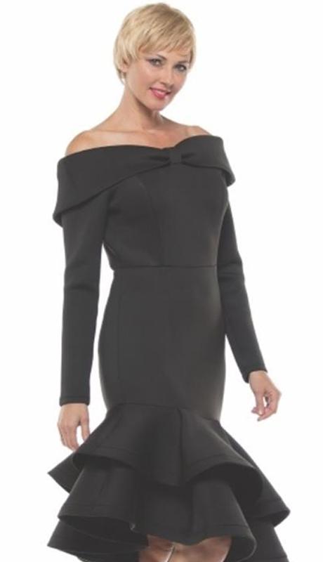 Why Collection D180044-BK ( 1pc Off Shoulder Ruffle Hem Dress )