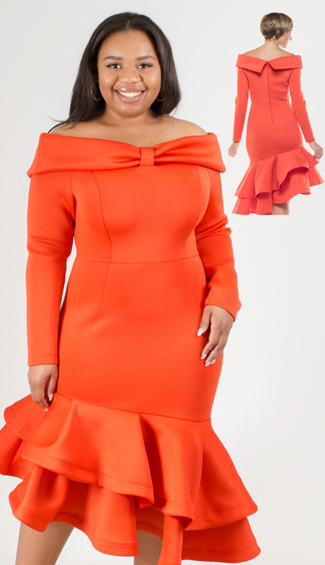 Why Collection D180044-OR ( 1pc Off Shoulder Ruffle Hem Dress )