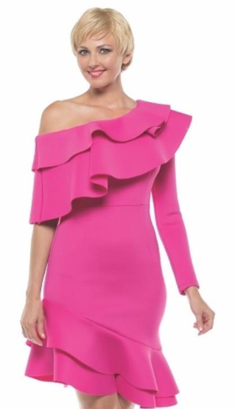 Why Collection D180043-FU ( 1pc One Shoulder Ruffle Hem Scuba Dress )