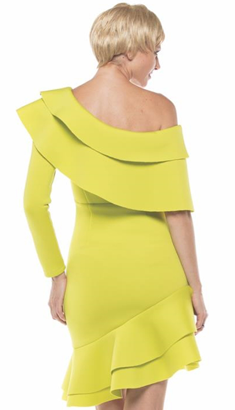 Why Collection D1800043-LI ( 1pc One Shoulder Ruffle Hem Scuba Dress )