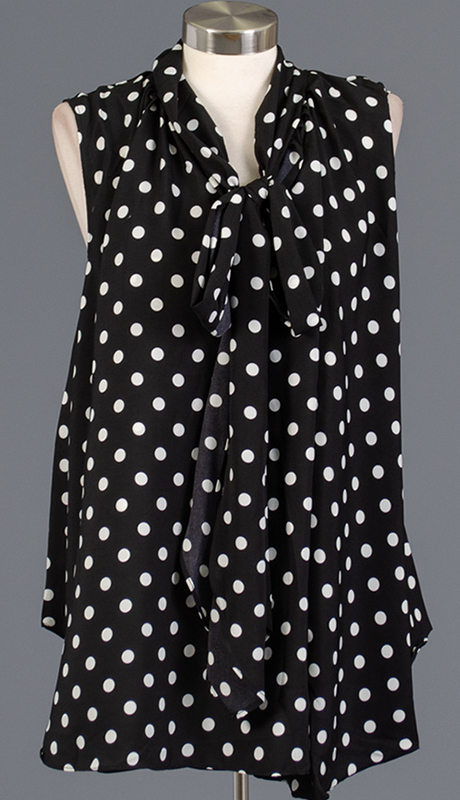 Rose Collection RC480-BW ( 1pc Sleveless Polka Dot Bow Top )