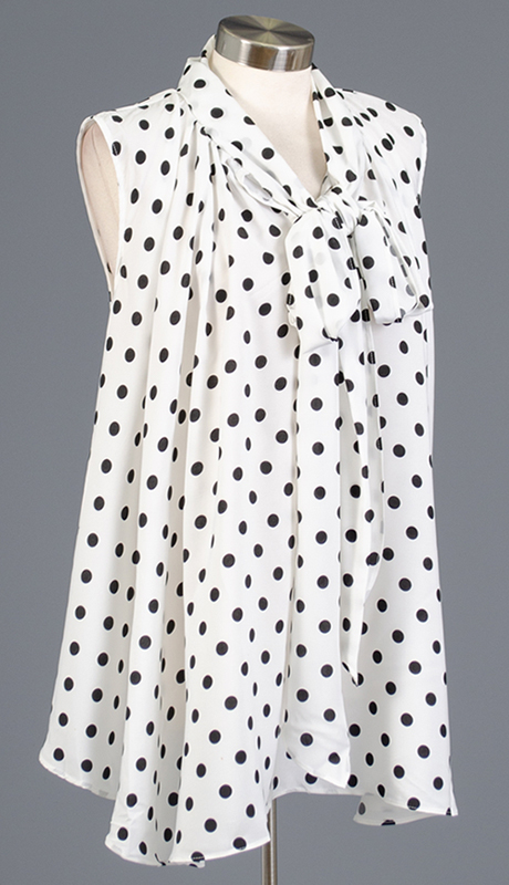 Rose Collection RC480-WB ( 1pc Sleveless Polka Dot Bow Top )