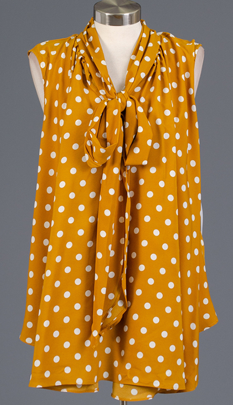 Rose Collection RC480-GW ( 1pc Sleveless Polka Dot Bow Top )