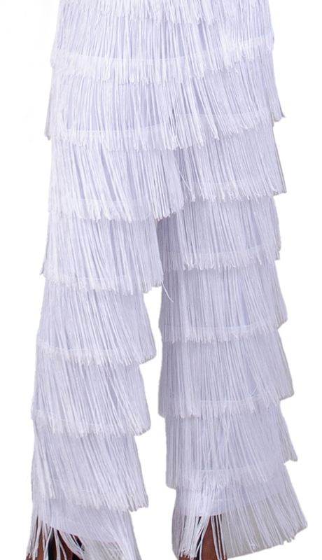 Rose Collection RC465-WH ( 1pc Elastic Waist Fringe Pant )
