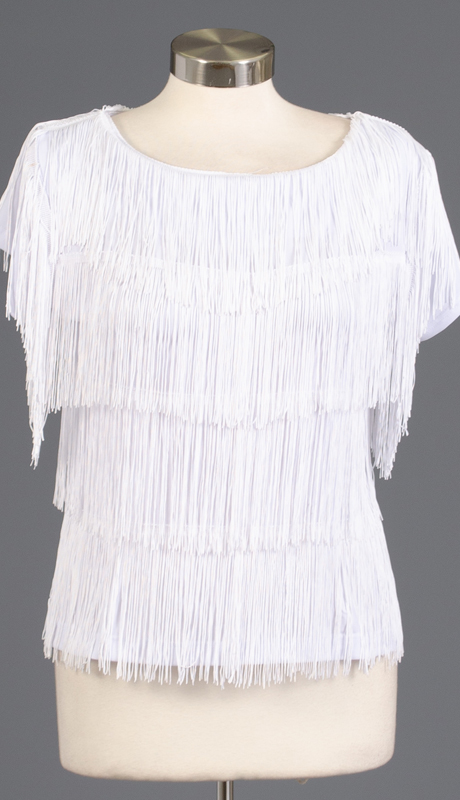 Rose Collection RC460-WH ( 1pc Sleeveless Fringe Top )