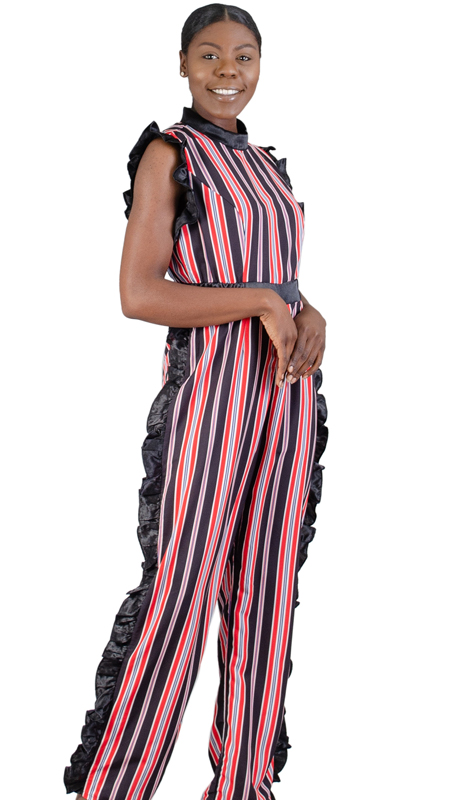 Rose Collection RC360-RE ( 1pc Sleeveless Side Ruffle Stripe Jumpsuit )