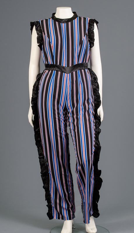 Rose Collection RC360-RO ( 1pc Sleeveless Side Ruffle Stripe Jumpsuit )