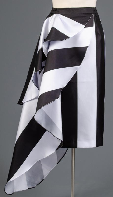 Rose Collection RC355-BW ( 1pc Stripe Polka Dot Combo Skirt )