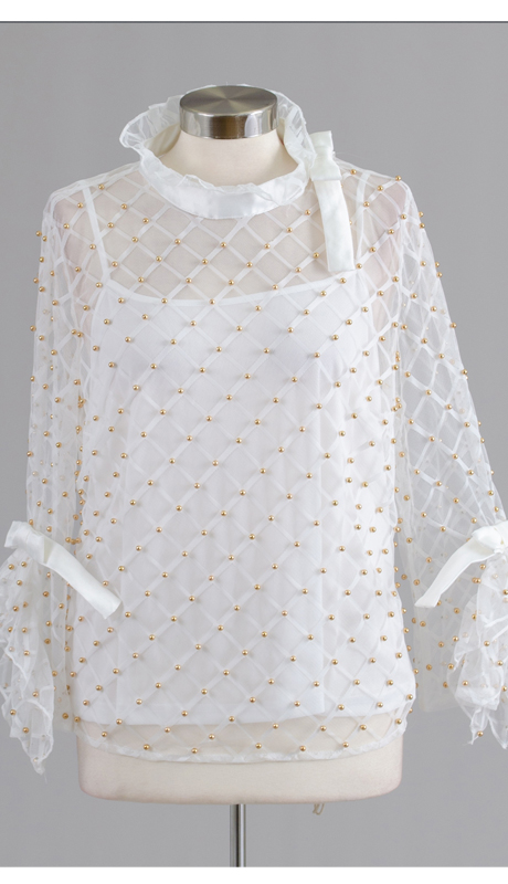 Rose Collection RC340-WH ( 2pc Ruffle Collar Sheer Studded Top )
