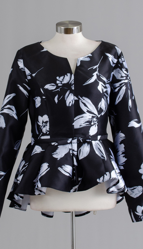 Rose Collection RC330-BW ( 1pc Floral Peplum Top )