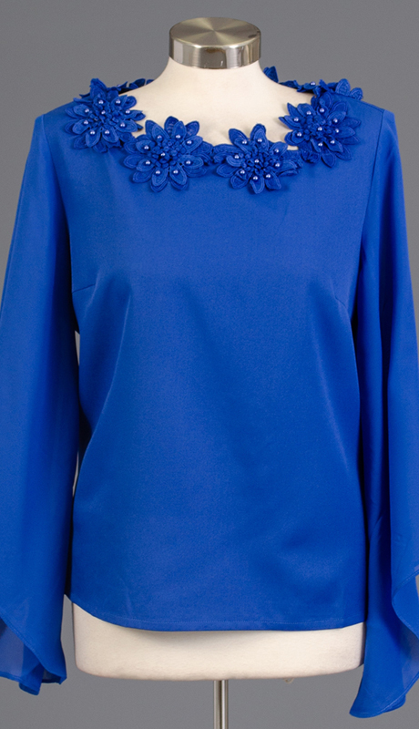 Rose Collection RC310-RO ( 1pc Sheer Sleeve Flower Top )