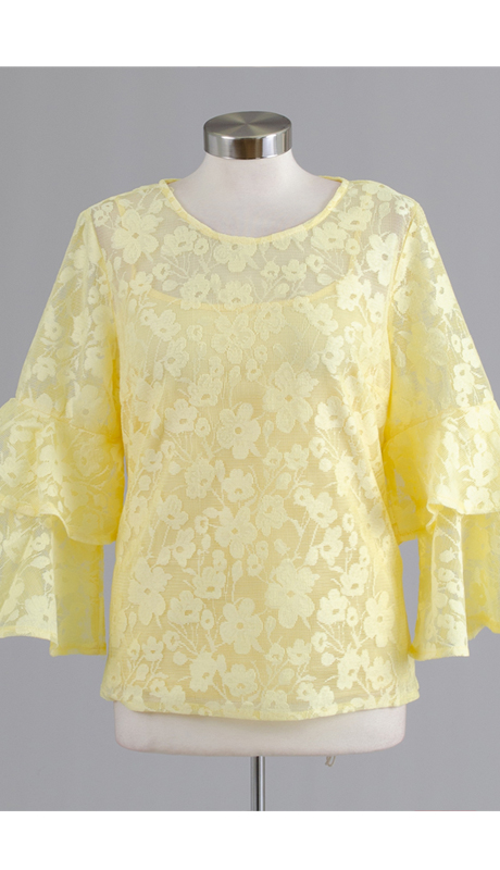 Rose Collection RC305-YE ( 2pc Flower Embroidered Top )