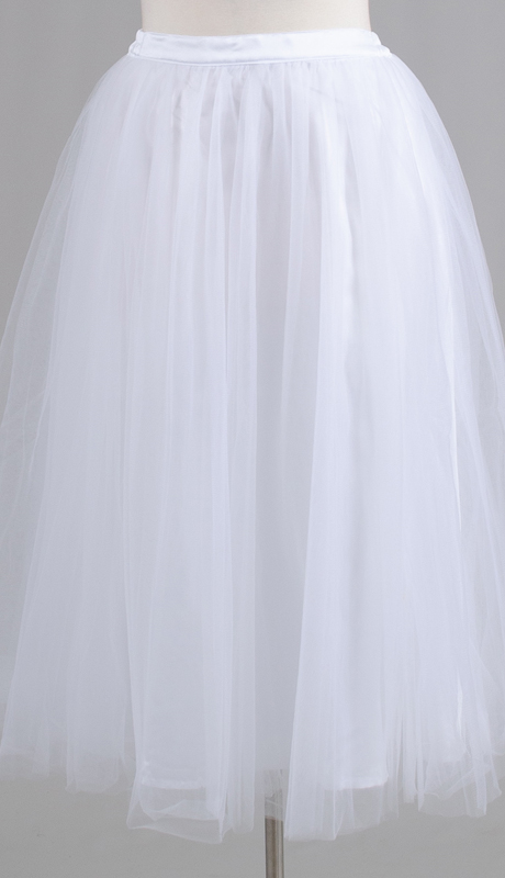 Rose Collection RC245-WH ( 1pc A-line Tulle Skirt )