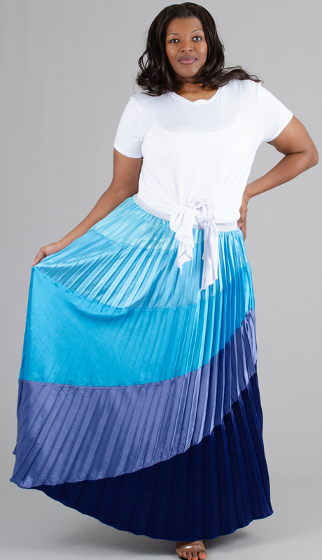 Rose Collection RC215-BM ( 1pc Multi Color Ombre Pleated Skirt )
