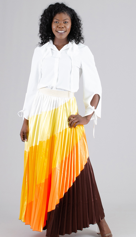 Rose Collection RC215-OM ( 1pc Multi Color Ombre Pleated Skirt )