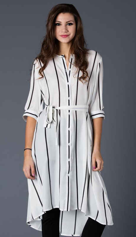 Why Collection T170455-IV ( 1pc Striped Button-Up Dress )