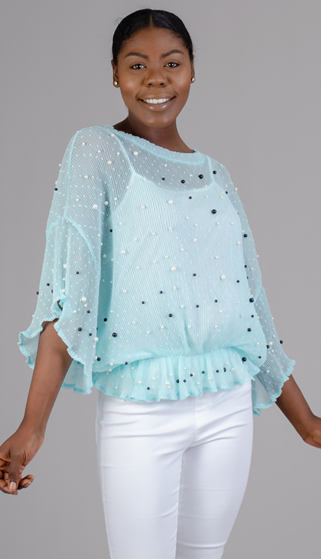 N By Nancy Collection Y1001-BL ( 1pc Sheer Pearl Top )