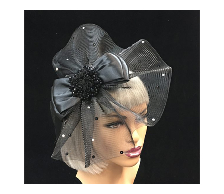 FA2283 Fortuny ( Illusion Fascinator With Crystal Beaded Embellishment And Bow )
