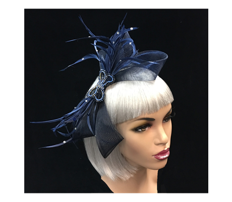FA2282 Liberty ( Elaborate Fascinator Of Feathers, Mesh Tendrils And Crystal Bow )