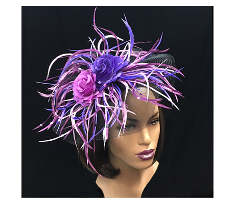 FA2261 Paradis ( Festive Spring Floral And Feather Fascinator )