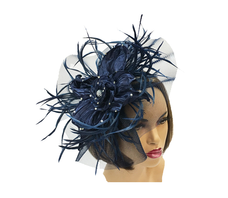 FA2255 Uma ( Fascinator With Satin Anemone And Illusion Fan )