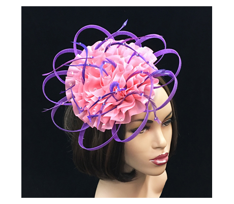 FA2254 Mulan ( Festive Fascinator Of Boldly Colorful Feathers And Ruffles )