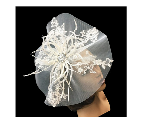 FA2233 Lilly ( Fascinator With Delicate Lace Sprays And Feathers )