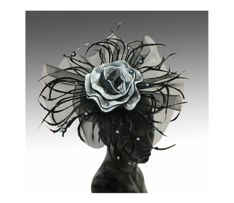 FA2181 Berlin ( Fascinator With Black/White Rose Framed In Horsehair And Feather Circle )