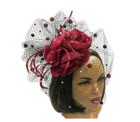 FA2180 Carmen ( Fascinator With Four Red Roses Nestled In A Chenille Dot Veil )