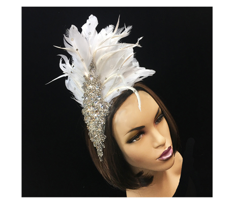 FA2179 Icicle ( Fascinator With Rhinestone Leaf And Feathers )