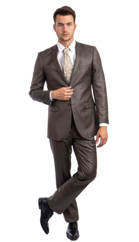 M181S-07 ( 2pc Mens Two Button Notch Lapel Windowpane Suits With One Chest Pocket And Waistband Pants )