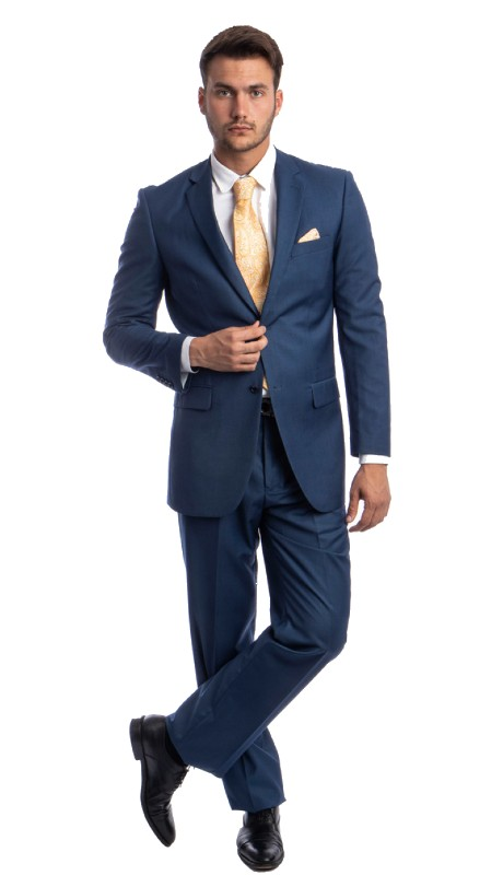 M202-10 ( 2pc Mens Two Button Notch Lapel Modern Fit Solid Suits With One Chest Pocket And Waistband pants )
